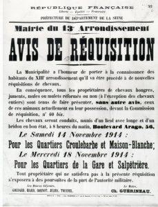 Avis de réquisition de chevaux de guerre Paris 13e